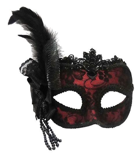 Masker Onstreet Maroon Side Feather Venetian Mask On Band