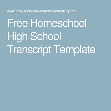 17 Best Images About Homeschool Middle School Highschool Resources On Pinterest Homeschool Homeschool High School Transcript Template