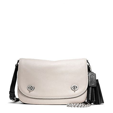 Coach Selempang 3tone 125 two tone leather gusset flap f25801 silver black coach handbags all