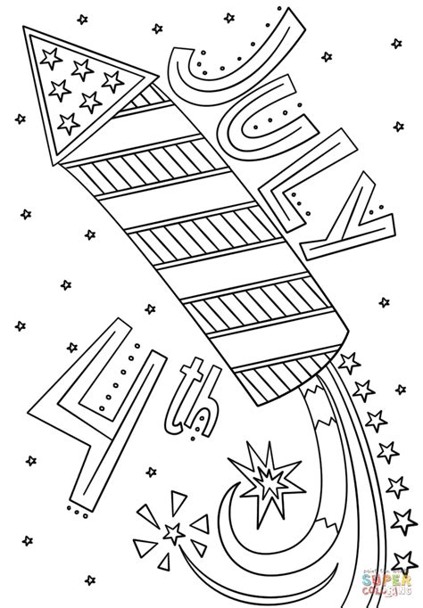Coloring Page 4th Of July by Fourth Of July Fireworks Doodle Coloring Page Free