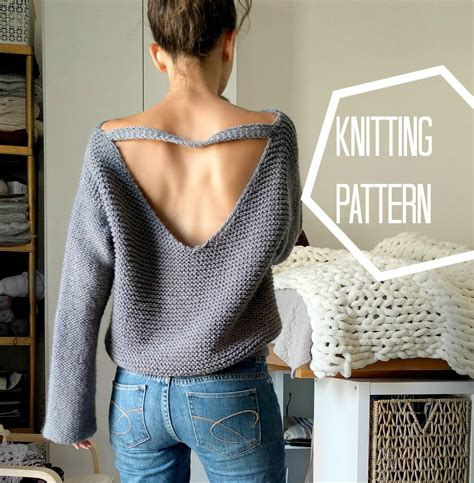 knitting pattern sweatshirt jumper no purls sweater pattern only v back knit sweater pattern