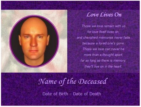 memorial card template word memorial cards sles