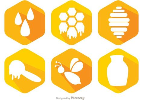 honey bee icon bee and honey icons vector download free vector art