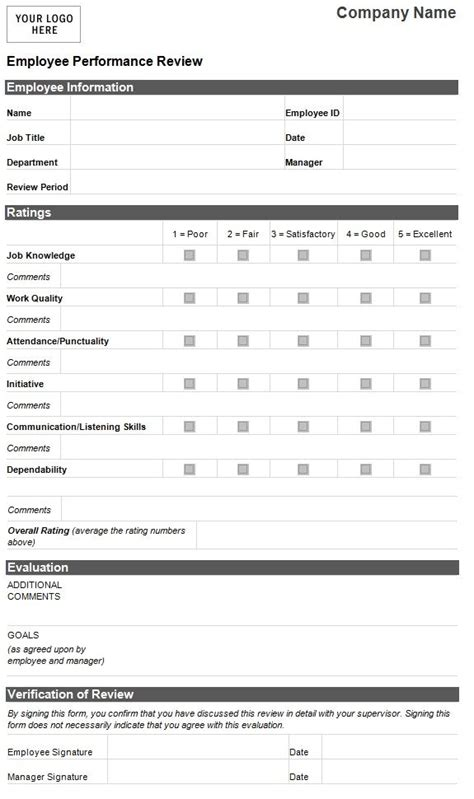 evaluation card template employee evaluation template employee performance