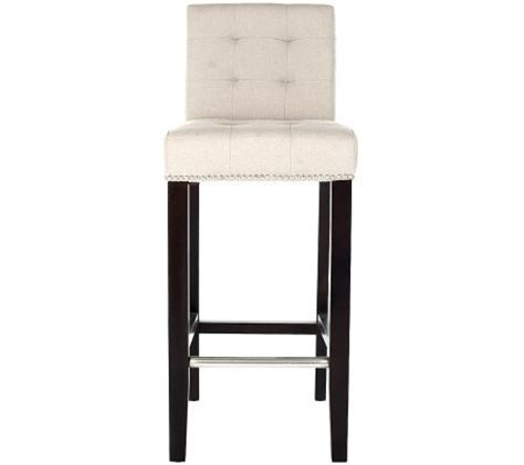 linen nailhead bar stools safavieh thompson bar stool linen with nickel nailhead