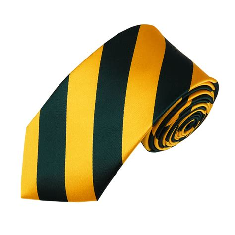 dss 3748 slim forest green and gold college stripe woven tie