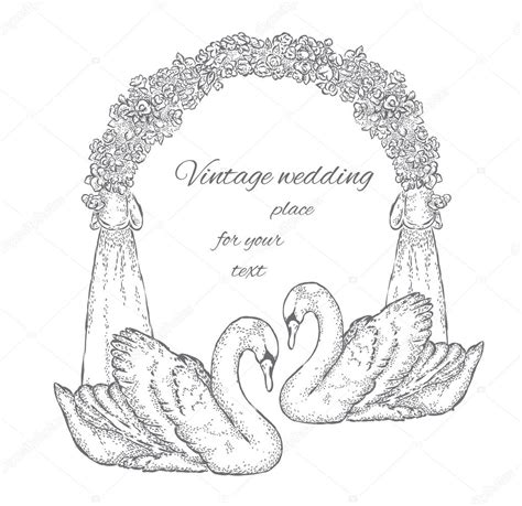 Wedding Arch Drawing by A Pair Of Swans Near The Wedding Arch Vector Illustration