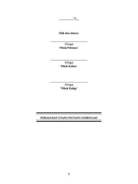 Perjanjian Utang Piutang By Gatot Supramono draft perjanjian subrogasi perjumpaan utang