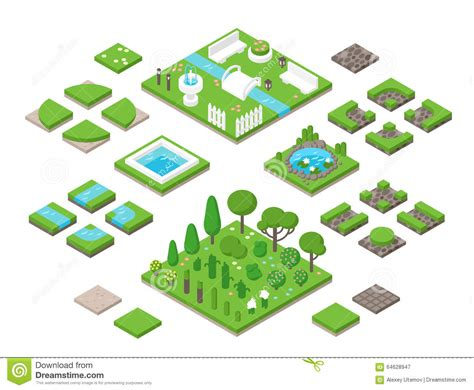 landscaping isometric 3d garden design elements stock vector illustration of elements