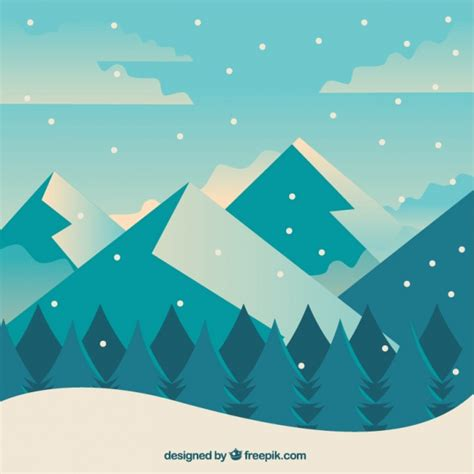 background flat design winter background with forest and mountains in flat design
