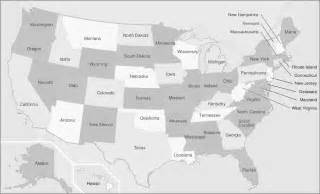 maps of united states of america with state names