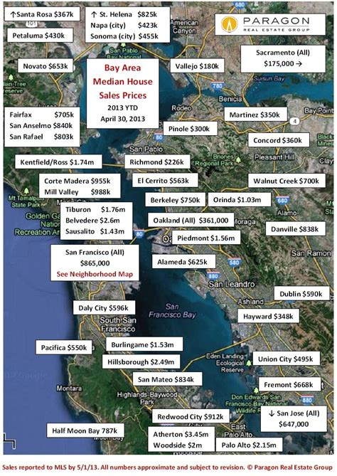 san francisco bay area home values in maps real data sf