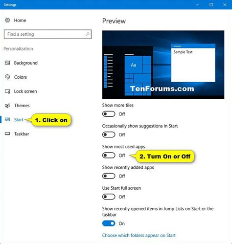 windows 10 tutorial start menu add or remove most used apps from start menu in windows 10