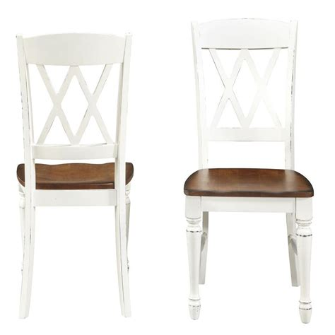 White Wood Dining Chairs Home Styles Rubbed White Wood X Back Dining Chair Set Of 2 5020 802 The Home Depot