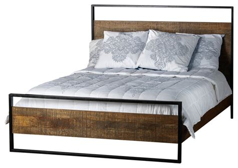 industrial beds delia bed made of mango wood king industrial beds by artemano
