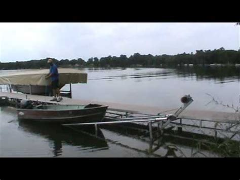 jon boat lift the swift lift unloading a 12 ft fishing boat youtube