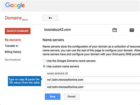change nameservers  set  office   google