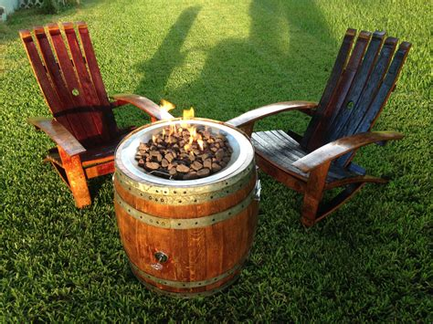 wine barrel outdoor furniture wine barrel pit and adirondack chair set