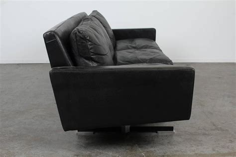 Mid Century Modern Black Leather Sofa With Chrome Legs For Black Leather Sofa With Chrome Legs