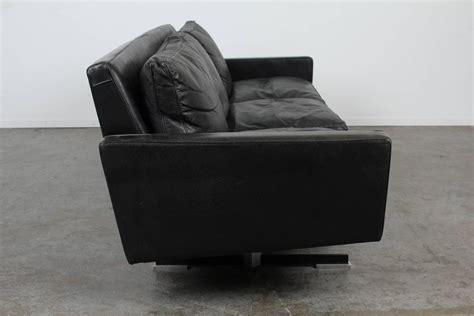 modern sofa chrome legs mid century modern black leather sofa with chrome legs for