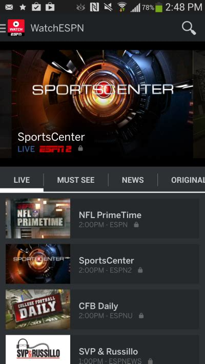 espn app for android espn launches a new watchespn app for android with monday