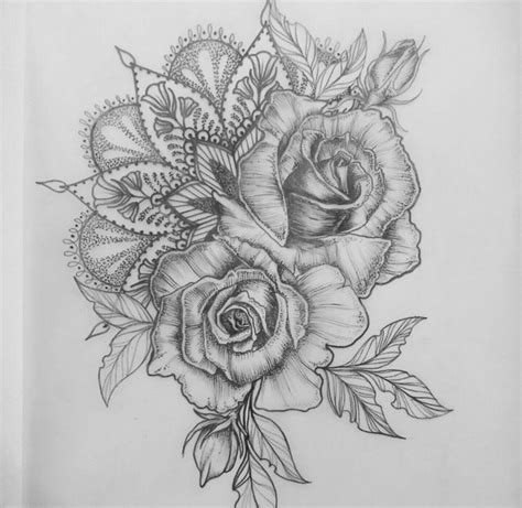 tattoo rose sketch mandala sunflower bodyart