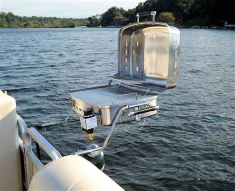grill on a pontoon boat grilling on the go land lake grill for pontoons