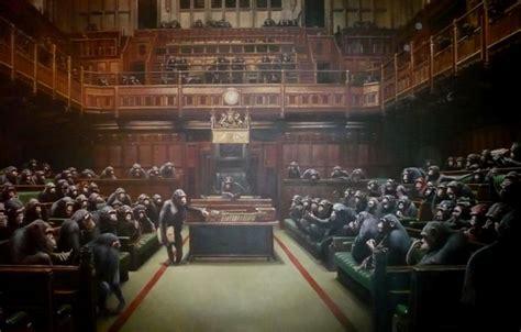 wallpaper monkey banksy parliament banksy officials