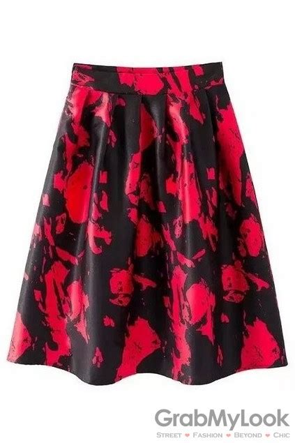 pattern of umbrella skirt red black abstract pattern elegant satin a line long