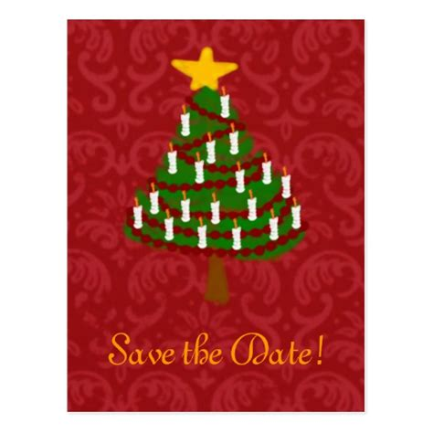 a vintage christmas tree save the date postcard zazzle