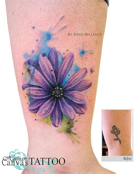 watercolor tattoo cover ups watercolor flower cover up human canvas