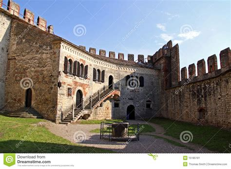 the fortified walls of an italian castle editorial photo