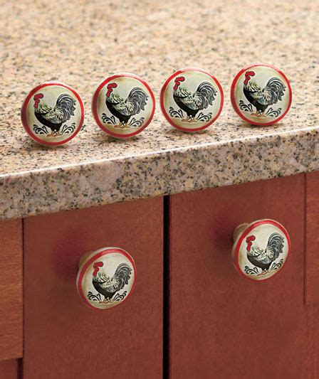 country kitchen cabinet knobs rooster drawer pulls set of 6 country rooster kitchen