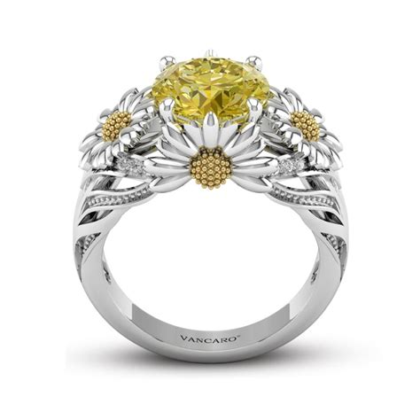 engagement rings for women dazzling daisy engagement ring with yellow gemstone for women