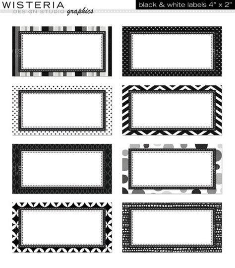 design white label black white labels 4 x 2 instant by wisteriadesignstudio