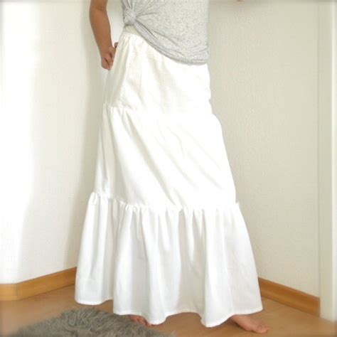 tiered maxi skirt white cotton sewing projects