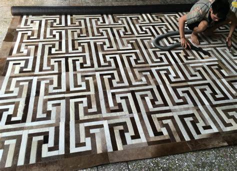 modern patchwork handmade sewing cowhide rug for living