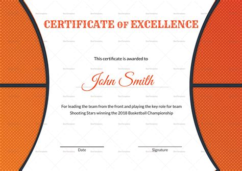 Basketball Certificates Templates by Basketball Excellence Award Certificate Design Template In