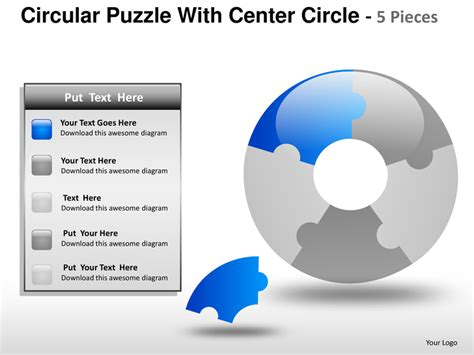 facility management ppt templates circular puzzle with center 5 powerpoint presentation