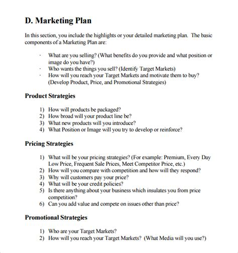 marketing section of a business plan sle sle marketing business plan template 12 free