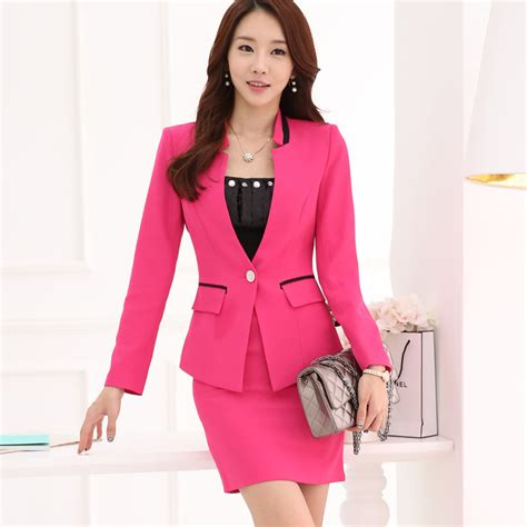female work suits 2014 formal pink blazer women skirt suits work wear sets slim