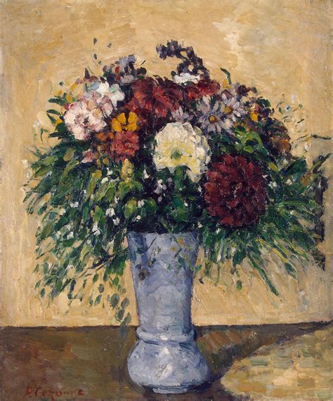 Paintings Of Flowers In A Vase by Flowers In A Blue Vase Painting Cezanne Paul
