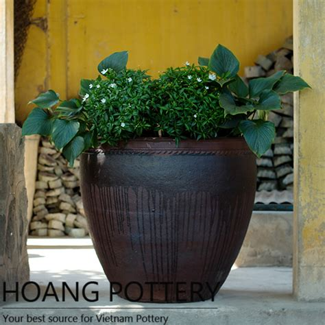 Planters Net by Beautiful Shape Black Clay Flower Pot Hphp076 Hoang Pottery Your Best Source For