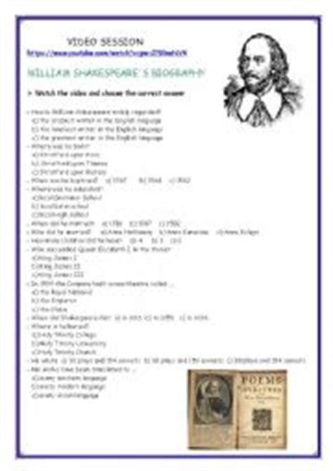 shakespeare biography exercises english worksheets video session shakespeare biography