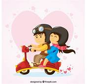 Lovely Couple Riding A Vespa Vector  Free Download