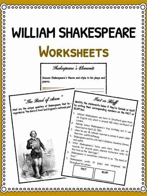 shakespeare biography for students william shakespeare worksheets bluegreenish