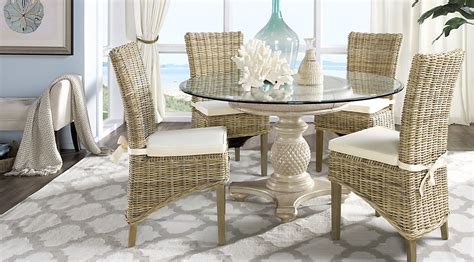 rattan dining room table and chairs 2144 cindy crawford home key west sand 5 pc round dining room