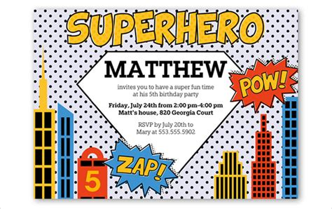 superhero birthday invitations wblqual com