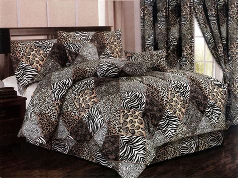 leopard bedroom set 7 pc microfiber safari animal skin patchwork comforter set