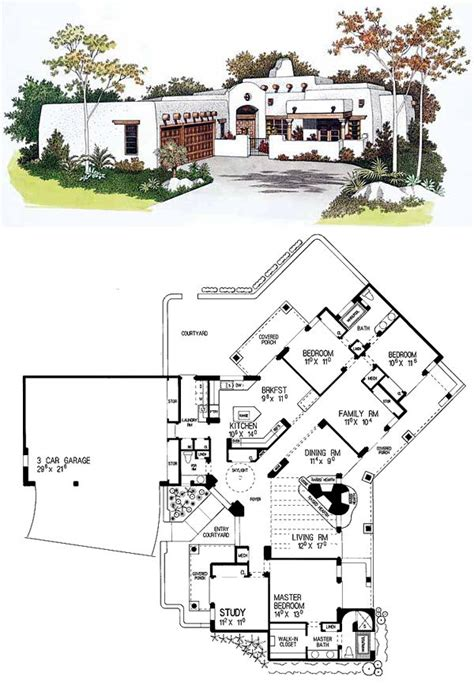 santa fe style house plans santa fe southwest house plan 99276